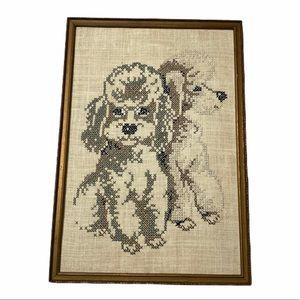 Vintage Poodle Needlepoint Cross Stitch Wall Decor
